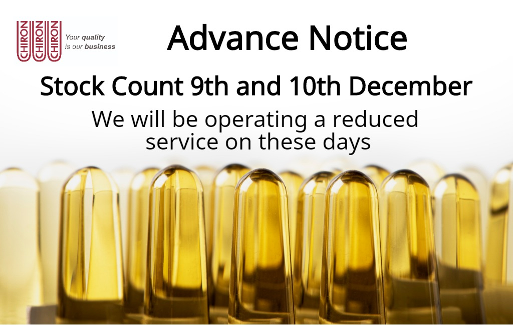 Annual stock count: 9th & 10th December